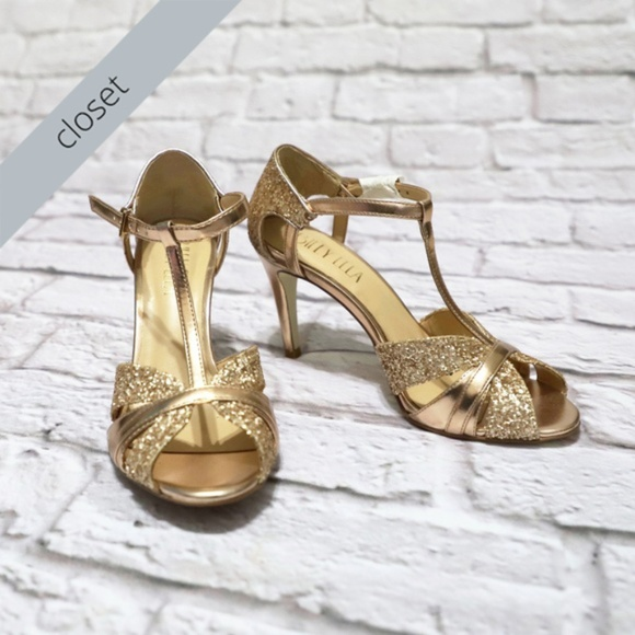 eb6573be4 bhldn Shoes - BHLDN Rose Gold Lucia T-Strap Heels by Billy Ella